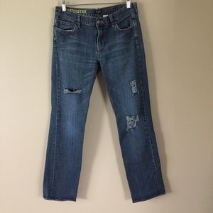 J. Crew distressed Matchstick straightleg jeans